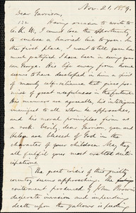 Letter from Oliver Johnson, [Place of publication not identified], to William Lloyd Garrison, Nov[ember] 21, 1859