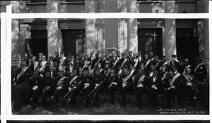 Washington, D.C. Oct. 19 1931 [Posed group of Freemasons in their regalia, ca. 1930-1940 : cellulose acetate photonegative, banquet camera format]