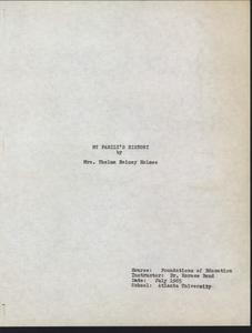 Student family histories: Holmes, Thelma Rainey (Sanders, Maschack, Jackson)