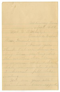 [Letter from Alta Berry to Linnet White, September 16, 1909] Charles B. Moore Family papers, 1832-1917