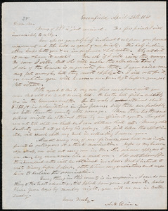 Letter from Alanson St. Clair, Greenfield, to Amos Augustus Phelps, April 24th 1840