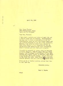 Letter from Hugh H. Smythe to Grace Proctor