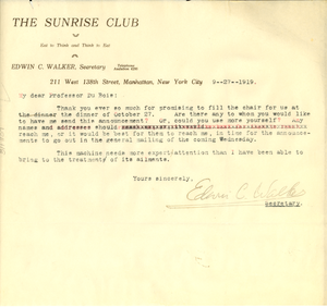 Letter from The Sunrise Club to W. E. B. Du Bois