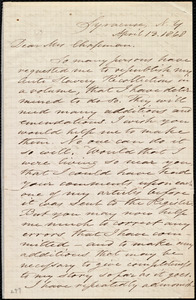 Letter from Samuel Joseph May, Syracuse, N.Y., to Maria Weston Chapman, April 13, 1868