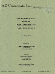 An Archaeological Survey Within the Deer Creek Estates, Tarrant County, Texas