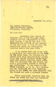 Letter from W. E. B. Du Bois to Sidney Hollander