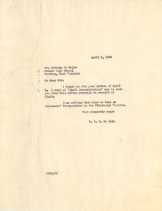 Letter from W. E. B. Du Bois to Anthony J. Major