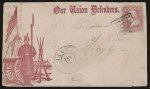 """[Civil War envelope showing soldier standing at attention in camp with message """"Our Union defenders""""]"""