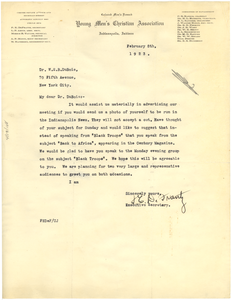 Letter from Indianapolis Young Men's Christian Association Colored Men's Branch to W. E. B. Du Bois