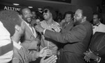 Broadcasters interviewing Marvin Gaye and Stevie Wonder during an event at Fox Hills Mall, Los Angeles 1982
