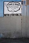 Vestige of MLK Jr. mural at South Park Liquors by Cornell McKennon, South Avalon Boulevard at 51st Street, Los Angeles, 2013