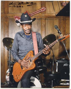 "Photograph and Autograph of Clarence ""Gatemouth"" Brown"