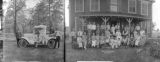 "Two Separate Images: On the left is an image of Olin-Wilmeth Company Employees with a Ford Truck, Circa 1923; On the right is the ""Huff Family Reunion, Aug. 19, 1923."""