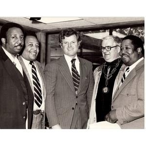 Leroy Keith, Jr., Paul Parks, Senator Edward M. Kennedy, unknown male, and John Bynoe.