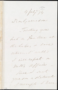 Letter from Wendell Phillips, to William Lloyd Garrison, 4 July [18]74