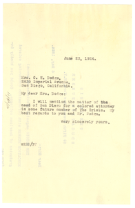 Letter from W. E. B. Du Bois to Mrs. C. H. Dodge