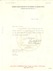 Form letter from NAACP to National Committee to Defend Dr. W. E. B. Du Bois and Associates in the Peace Information Center