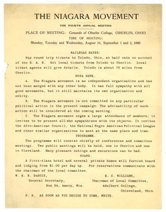 Thumbnail for Announcement from W. E. B. Du Bois to Niagara Movement members