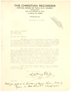 Letter from R. R. Wright to W. E. B. Du Bois