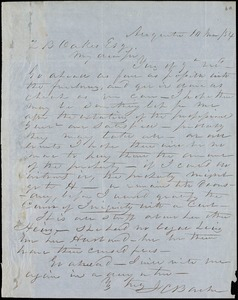 F. C. Barber, Augusta, Ga., autograph letter signed to Ziba B. Oakes, 10 March 1854
