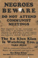 """Negroes Beware / Do Not Attend Communist Meetings."""