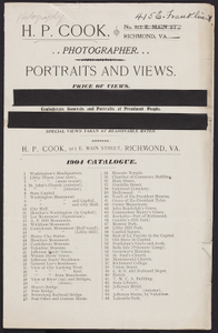 Portraits and views, catalogue, H.P. Cook, photographer, 913 E. Main Street, Richmond, Virginia, 1904