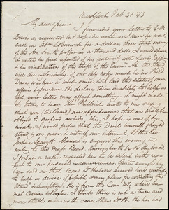 Letter from James Sloan Gibbons, New York, to Maria Weston Chapman, Feb. 21, [18]43