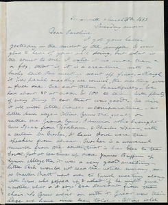 Letter from Deborah Weston, Weymouth, [Mass.], to Caroline Weston, March 26th, 1843, Tuesday morn[ing]