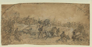 Charge of the 6th Michigan cavalry over the rebel earthworks nr. Falling Waters