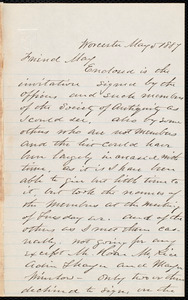 Letter from Joseph Avery Howland, Worcester, [Mass.], to Samuel May, May 5, 1887