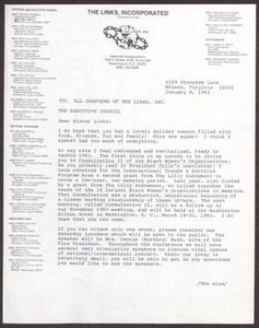 Memorandum from Dolly D. Adams to All Chapters of The Links, Inc. - January 8, 1982 San Antonio Chapter of Links Records Links San Antonio Papers