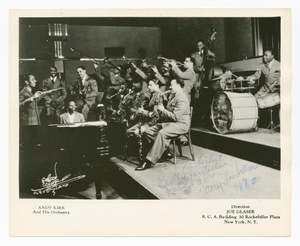 Photograph of Mary Lou Williams playing piano with Andy Kirk and his orchestra