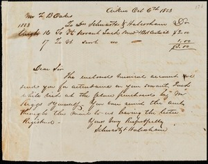 Schwartz & Habersham, Aiken, S.C., manuscript letter signed to Ziba B. Oakes, 6 October 1853