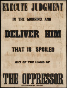Execute judgment in the morning, and deliver him that is spoiled out of the hand of the oppressor: Constitution of Virginia