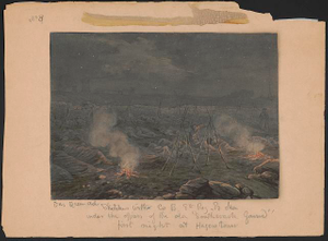 "Sketches with Co. B, 8th Reg. Pa. Ma. under the officers of the old ""Southwark Gaurd"" [sic] first night at Hagerstown"