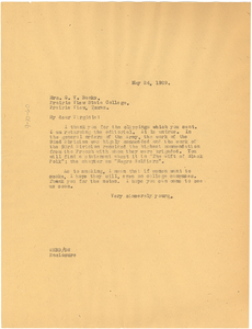 Letter from W. E. B. Du Bois to Mrs. G. V. Banks