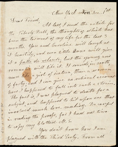 Letter from Lydia Maria Child, New York, to Maria Weston Chapman, Dec. 1 'st [1841?]