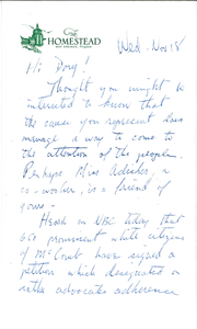 Letter from Sak (Tom Sakelaris) to Dory (Gloria Xifaras Clark)