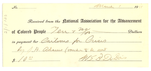 Receipt from N.A.A.C.P. to Crisis