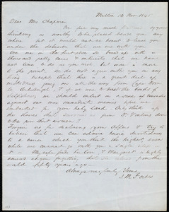 Letter from John Murray Forbes, Milton, [Mass.], to Maria Weston Chapman, 14 Nov. 1845