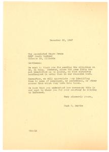 Letter from Hugh H. Smythe to Associated Negro Press