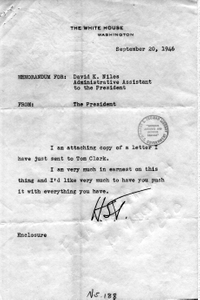 Letter from Harry S. Truman to Attorney General Tom Clark with Attached Memorandum to David Niles