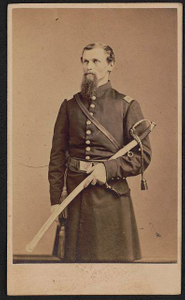 [Lieutenant Hillary Beyer of Co. H, 90th Pennsylvania Infantry Regiment, in uniform with sword]