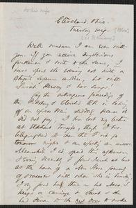 Thomas Wentworth Higginson autograph letter to [Mrs. Mary Elizabeth Channing Higginson], Cleveland, Ohio, [21 February 1860]