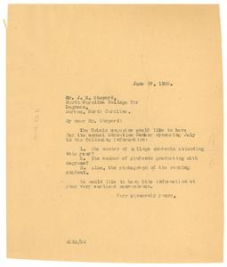 Letter from W. E. B. Du Bois to J. E. Shepard