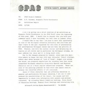 Letter, activities report.