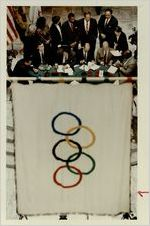 Fulton County, the Braves, and the Olympics committees sign the agreement to construct the Olympic Stadium, March 16, 1993
