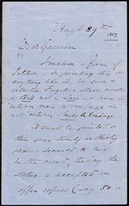 Letter from Wendell Phillips, to William Lloyd Garrison, Aug[us]t 29th [1859]