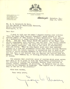 Letter from George W. Maxey to W. E. B. Du Bois