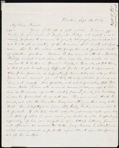 Letter from William Lloyd Garrison, Boston, [Mass.], to Samuel Joseph May, Sept. 11, 1854